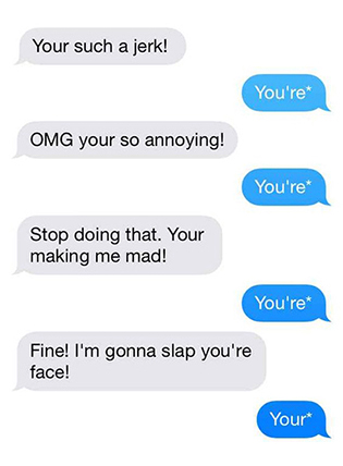 A text message exchange